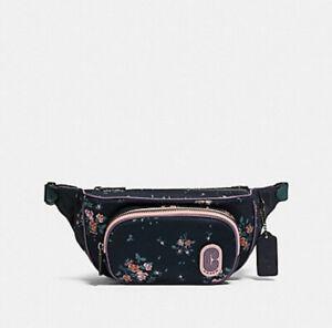 🌹NWT Coach Court Belt Bag 91021 Rose Bouquet Midnight crossbody handbag