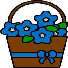 30 Custom Simple Blue Flower Basket Personalized Address Labels