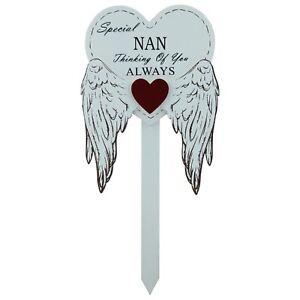 Special Nan Grave Stick Graveside Memorial Angel WIngs Tribute Marker 76169