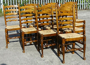 Set of 10 Quality Oak & Elm Ladderback Rush Seated Dining Chairs Country House
