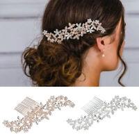 Crystal Flower Hair Clip Comb Rhinestones Hairpins Wedding Bridal Accessories