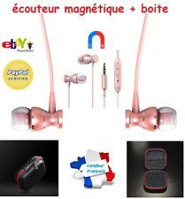 Ecouteurs Rose Magnétiques Universel + Boite - Samsung Stéréo Apple Iphone
