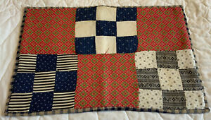Vintage Patchwork Quilt Table Topper, Doll Crib Quilt, Nine Patch, Early Calicos