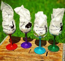 Moana Glitter Stemmed Wine Glasses - Maui Hei Hei Tamatoa Handmade Disney