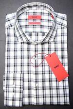 NWT Hugo Boss Men's Jason Slim Fit Black Plaids Cotton Dress Casual Shirt 38 15