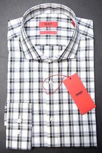 Hugo Boss Men's Jason Slim Fit Black Plaids Cotton Dress Casual Shirt New 38 15