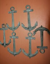 "(6), Anchor Gift Set of 6 Cast Iron Anchor Wall Plaques, 7 1/2"" each, N-42"