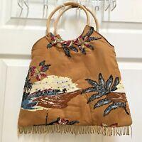 Bamboo Handled Handbag Hawaiian Print Beaded Sequined Fringe Bag Tote