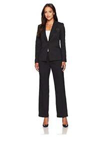 Tahari Asl Petite Glitter Brooch-Detail Pantsuit Size 2P #G173 MSRP $290.00