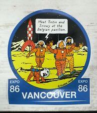 Tintin Herge rare Autocollant HC Lune Vancouver 1986