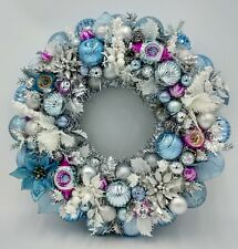 Frosted Pink & Periwinkle Christmas Sparkle Ornament Wreath