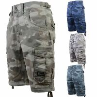 New Mens Crosshatch Cargo Combat Camo Army Shorts 3/4 Military Knee Length