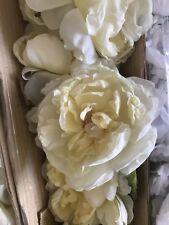 12 Pcs (1 Dozen) Large 4� Yellow Poly Silk Multi-Pedaled Cabbage Rose