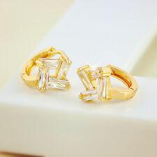 Accent 18k 18ct Yellow Gold GF Austrian Crystal Geometric Huggie Hoop Earrings