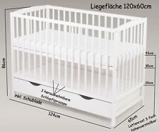 Bett Babybett Gitterbett Kinderbett Schublade 120 x 60 cm Weiß Massivholz Neu