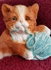 Vintage 1987 Stone Critters kitten with yarn