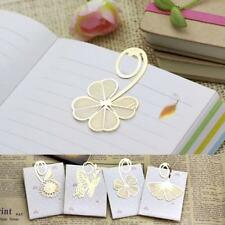 Reading Books Gold Clip Four-leaf Flower Marker Bookmark Memo