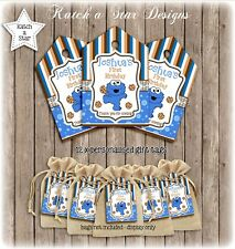 COOKIE MONSTER 1ST BIRTHDAY PARTY PERSONALISED THANK YOU TAGS X 12