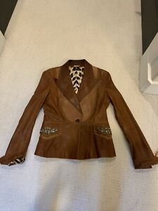 Roberto Cavall Beautiful Cognac color Leather Jacket with Embellished pockets