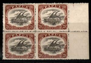 PAPUA SG82 1910 2/6 BLACK & BROWN MTD MINT BLOCK OF 4