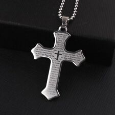 """Stainless Steel Pendant  1.42 X2.03 Inch Holy Bible Cross Silver Necklace 22"""" B5"""
