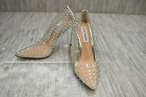 **Steve Madden Vala Spiked Pointed Toe Pumps, Women's Size 6M, Clear NEW
