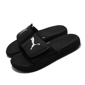 Puma Softride Slide V Black White Strap Men Slip On Sandal Slides 382112-01