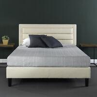 Full Queen King Size Platform Bed Frame Upholstered with Wooden Slats Headboard