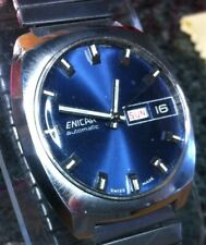 ENICAR SWISS WATCH UTO DAY DATE BLUE FACE SS EXPANSION BAND