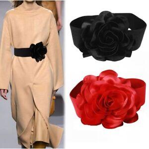Fashion Elastic Cloth Wide Waist Belt Flower Buckle Dress Stretch Waistband