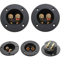2x 2-Way Subwoofer Speaker Box Terminal Round Cup Connector For 4mm Banana Plugs