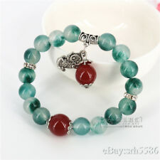 Chinese Green Jade Beads red agate dangle Pi Xiu Bangle Feng Shui Bracelet 10mm