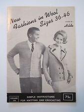 Fashions in Wool Knit & Crochet Pattern Book by Hilde 1965 Mens Ladies Cardigans