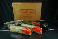 1950'S MARX DIESEL TYPE DUAL SANTA FE ELECTRIC TRAIN SET W/ TRACK CARS & BOX