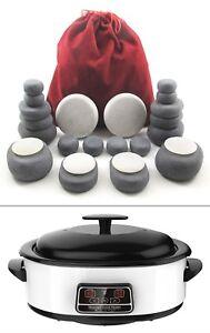 HOT/COLD STONE MASSAGE KIT: 24 Basalt & Marble Stones + 6 Litre Digital Heater