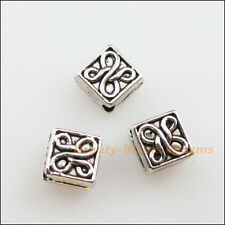20Pcs Tibetan Silver Tone Flower Square Spacer Beads Charms 5mm