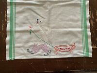 Vintage Hand Embroidered Chef Red Hot White Kitchen Dish Towel