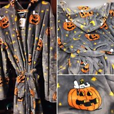 Peanuts HALLOWEEN Hooded Bath Robe Snoopy Woodstock Pumpkin Berkshire Adult S/M