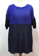 J. CREW Ladies Blue & Black Colour Block Linen Short Sleeve Knit Top Size L