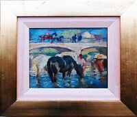 Julius Paul Junghanns 1876-1953: Pferde am Fluss Öl-Gemälde 14 x 16 cm (selten)