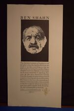 BARRY MOSER Wood Engraving Ben Shawn Pennyroyal Press SIGNED 30 of 150