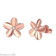 2017 Fashion New Women Girl Rose Gold Flower Earrings Ear Stud  Jewelry Gift