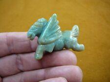(Y-Peg-Ru-563) Green wild Pegasus flying gemstone winged horse Figurine carving