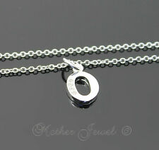 LOVELY STERLING SILVER PLATED  INITIAL LETTER O SIMULATED DIAMOND GIRLS NECKLACE