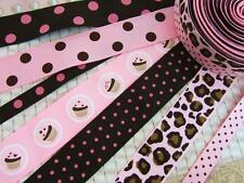 14 yard Grosgrain Design Ribbon Mix Lot/Dot/Trim/craft/scrapbooking R-Pink/Brown