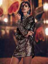 NEW Free People Tarnished Gold Sequin Tunic Dress Long Sleeve Rare! Retails $298
