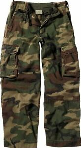 Kids Woodland Camo Paratrooper Fatigues Cargo Pants Washed Vintage Army Military