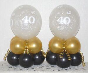 40th Birthday  2 / 6 / 12 Pack Table Balloon Decoration Display Kit - Gold/Black