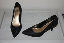 Fioni Night Women's High Heel Pump Sz 7.5 Black & Silver Shimmer Formal Shoe