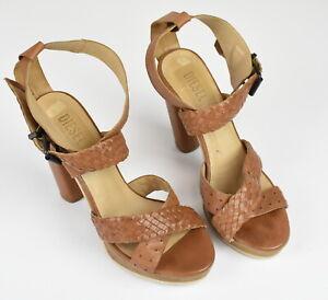 DIESEL Woman UK 7 EUR 40 Breaded Leather Slingbacks 13.5 cm High Heels 17392_